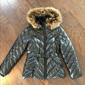 H&M shiny puffer faux fur coat